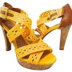 Gianni Bini Yellow Platform Sandal Heels